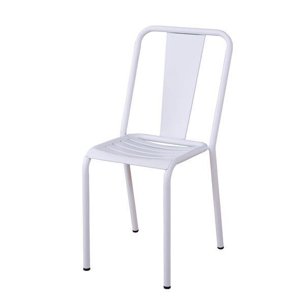 金属 スチール チェア (イス 椅子) /スタッキングチェア 【ホワイト】 座面高44cm 金属 フレーム 〔ディスプレイ用品 什器 インテリア家具〕 白