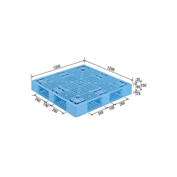 (業務用2個セット)三甲(サンコー) プラスチックパレット/プラパレ 【片面使用型】 D4-1212 (PP) ライトブルー(青) 青