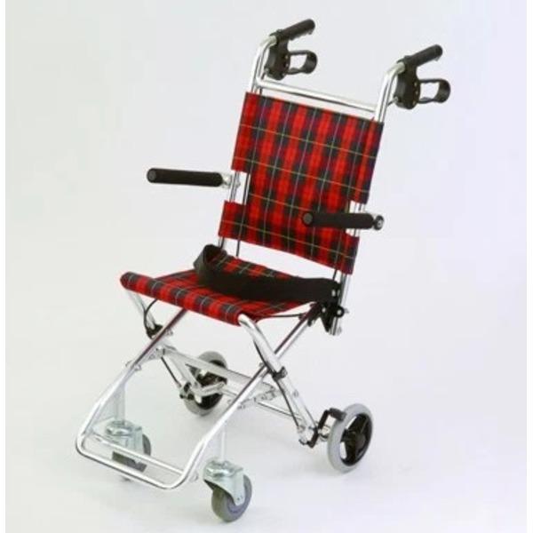 介助式小型折りたたみ車椅子 チビポン/チェックレッド(赤) 携帯タイプ/跳ね上げ式肘かけ 【MIWA】 ミワ HTB-AC1【代引不可】