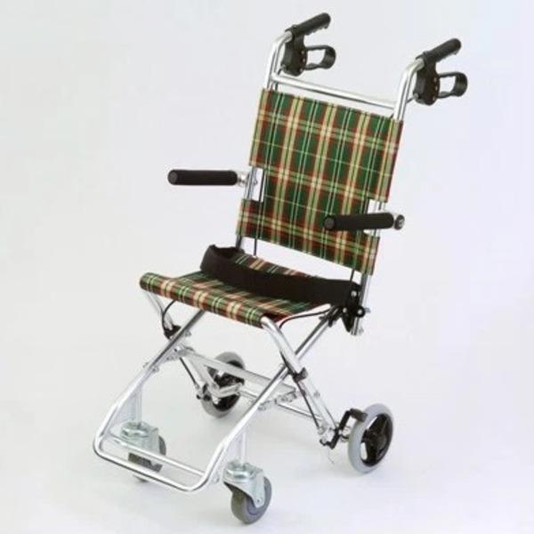 介助式小型折りたたみ車椅子 (イス チェア) チビポン/チェックダークグリーン(緑) 携帯タイプ/跳ね上げ らくらく 式肘かけ 【MIWA】 ミワ HTB-AC1 緑