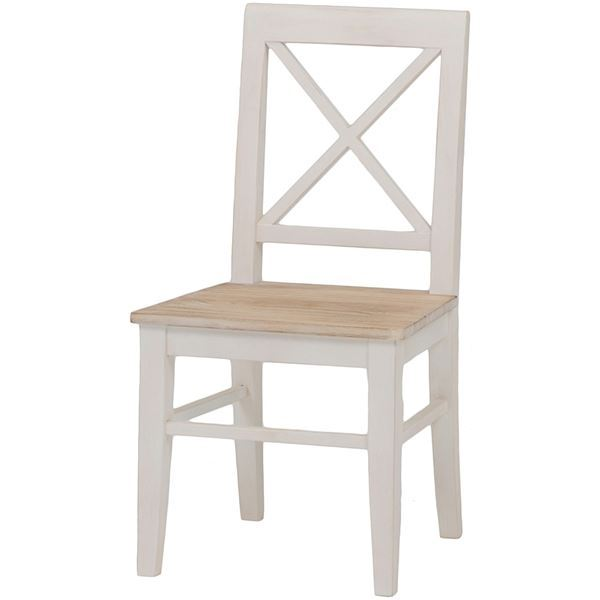 ダイニングチェア/リビングチェア 木製 座面:桐材 アンティーク調 ホワイト(白) 【代引不可】
