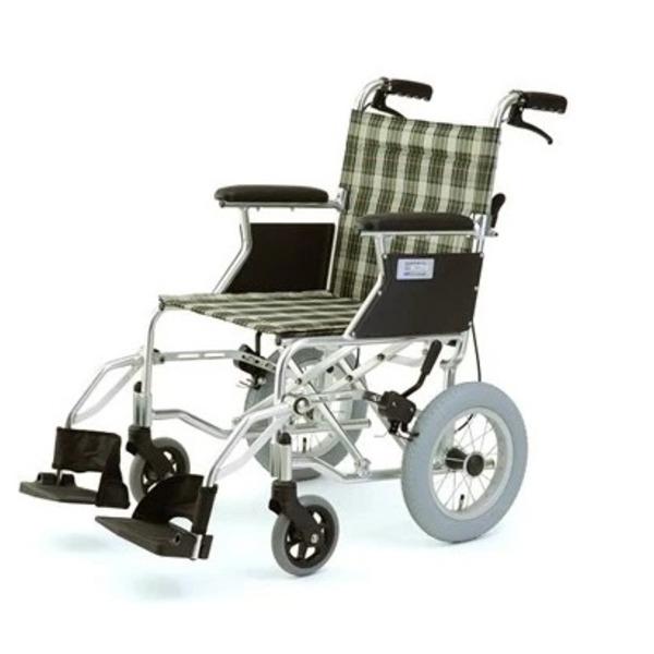 介助式折りたたみ車椅子 (イス チェア) ミニポン/チェックグリーン(緑) アルミ製 軽量コンパクトタイプ 【MIWA】 ミワ HTB-12 緑