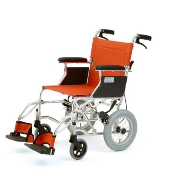 介助式折りたたみ車椅子 (イス チェア) ミニポン/オレンジ アルミ製 軽量コンパクトタイプ 【MIWA】 ミワ HTB-12