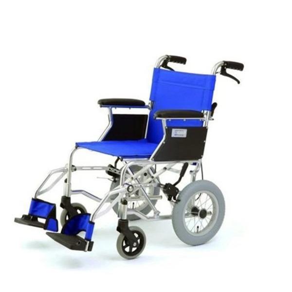 介助式折りたたみ車椅子 ミニポン/ブルー(青) アルミ製 軽量コンパクトタイプ 【MIWA】 ミワ HTB-12【代引不可】