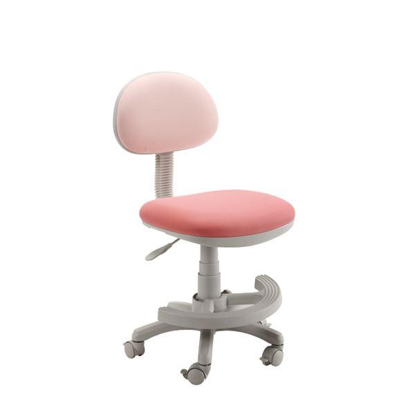 学習チェア (イス 椅子) (学習椅子 (イス チェア) /勉強椅子 ) ピンク 座面高44.3~54.5cm 足置きリング/キャスター付 移動可能 車輪付き き