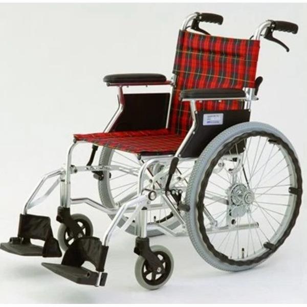 自走/介助兼折りたたみ車椅子 ラクポン/チェックレッド(赤) アルミ製 軽量コンパクトタイプ 【MIWA】 ミワ HTB-20D【代引不可】