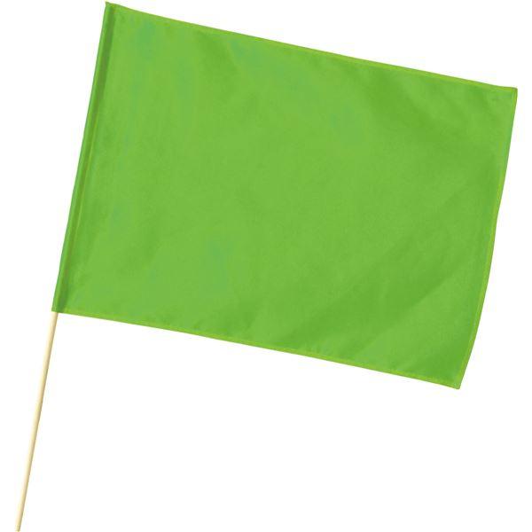 (まとめ) 旗/フラッグ 【大】 600mmX450mm ポリエステル製 軽量 蛍光グリーン 【×30セット】 緑