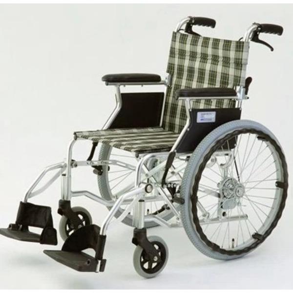 自走/介助兼折りたたみ車椅子 (イス チェア) ラクポン/チェックグリーン(緑) アルミ製 軽量コンパクトタイプ 【MIWA】 ミワ HTB-20D 緑