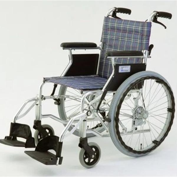 自走/介助兼折りたたみ車椅子 ラクポン/チェックブルー(青) アルミ製 軽量コンパクトタイプ 【MIWA】 ミワ HTB-20D【代引不可】