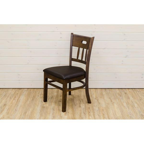 ダイニングチェア ダイニング用チェア イス 食卓 椅子 /リビングチェア リビング用 応接チェア 【同色2脚セット】 ダークブラウン 『KALMIA』 座面高:43cm 張地:合成皮革(合皮 フェイクレザー ) 【完成品】 茶