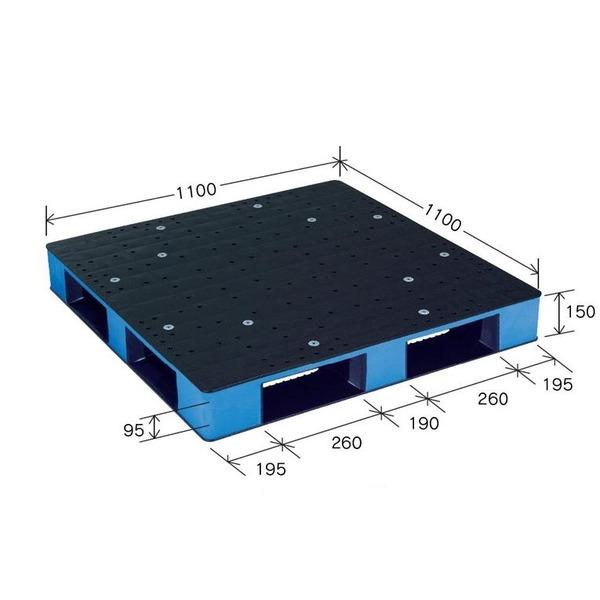 カラープラスチックパレット/物流資材 【1100×1100mm ブラック/ブルー】 片面使用 HB-D4・1111SC 岐阜プラスチック工業【代引不可】