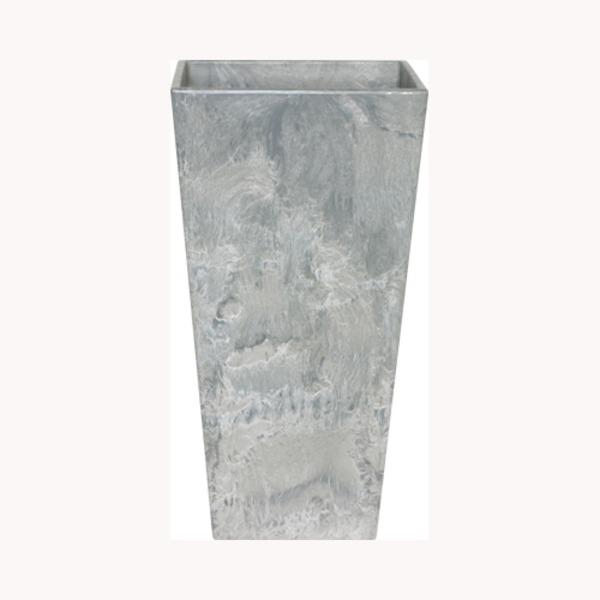 底面給水型 植木鉢/プランター 【トールスクエア型 グレー 幅35cm×高さ70cm】 底栓付 『アートストーン』 〔園芸用品〕