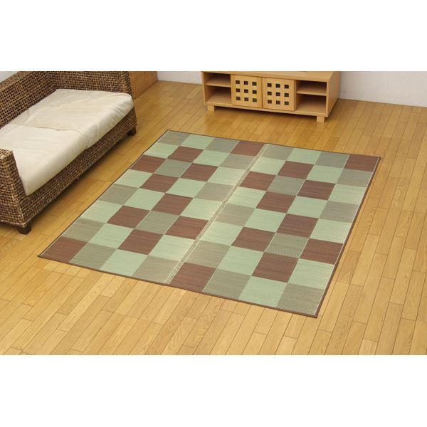 純国産 い草花ござカーペット 『ブロック』 ブラウン 江戸間2畳(174×174cm) 茶