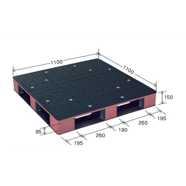カラープラスチックパレット/物流資材 【1100×1100mm ブラック/ブラウン】 片面使用 HB-D4・1111SC 岐阜プラスチック工業【代引不可】