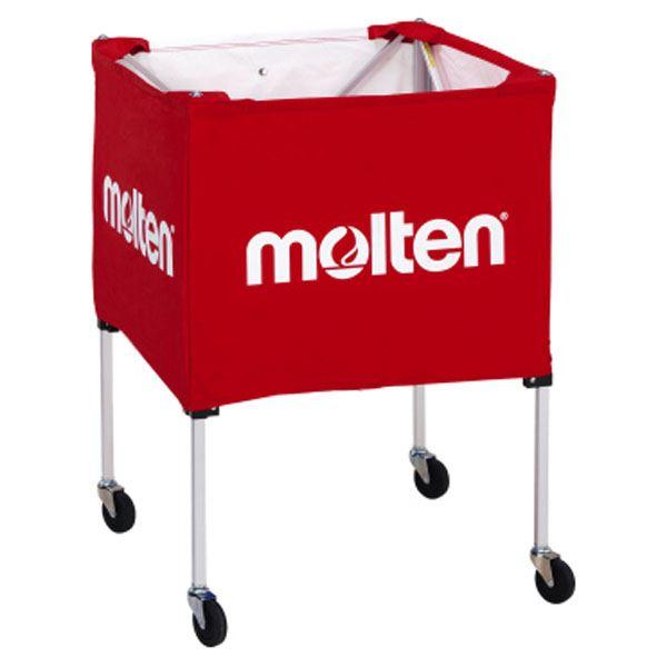 【モルテン Molten】 折りたたみ式 ボールカゴ 【屋外用 レッド】 幅63×奥行63cm キャスター ケース付き 赤