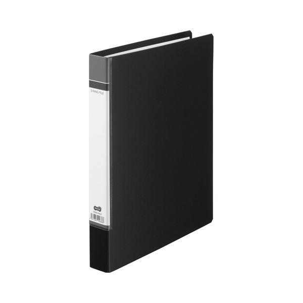 (まとめ) TANOSEE Dリングファイル(貼り表紙) A4タテ 2穴 210枚収容 背幅40mm 黒 1セット(20冊) 【×2セット】