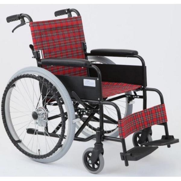 自走/介助折りたたみ車椅子 (イス チェア) アミー22/ルビーレッド(赤) アルミ製 ノーパンク仕様/持ち手付き 【MIWA】 ミワ MW-22AIIN 赤