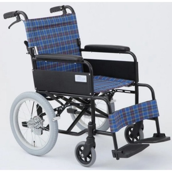 介助式折りたたみ車椅子 アミー16/ターコイズブルー(青) アルミ製 持ち手付き 【MIWA】 ミワ MW-16A【代引不可】