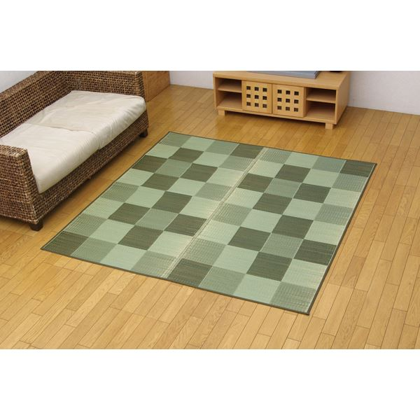 【送料無料】 い草花ござカーペット 『ブロック』 グリーン 江戸間2畳(174×174cm)( グリーン 緑 )