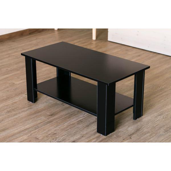 【訳有り アウトレット品】整理 収納棚付きセンターテーブル/ロータイプ 低い テーブル センターテーブル 【長方形】 幅90cm ブラック(黒)