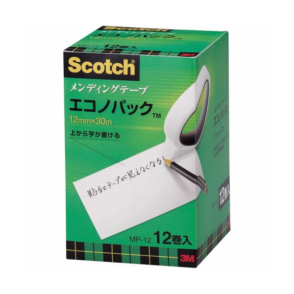 (まとめ) 3M スコッチ メンディングテープ エコノパック 大巻 12mm×30m 紙箱入 業務用パック MP-12 1パック(12巻) 【×2セット】