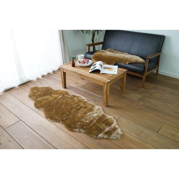 フェイクムートン/絨毯 【フォックスタッチファー 60cm×170cm ブラウン】 ホットカーペット対応 〔ソファー 車〕 茶