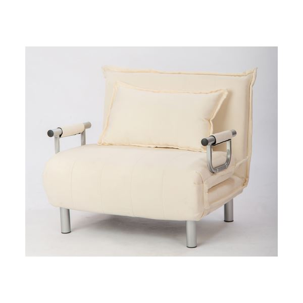 シングルベッド 折りたたみソファーベッド/カウチソファー 【シングルサイズ】 肘付き 6段階リクライニング ベージュ