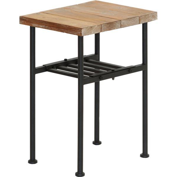 サイドテーブル エンドテーブル コーナーテーブル 小型 脇台 机 (ミニテーブル /コーヒーテーブル ) JOKER 幅30cm 木製/杉古材×金属 スチール 整理 収納 棚付き (置き台 置き場付き) 木目調