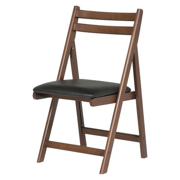 折りたたみ椅子(作業用チェア) 木製×合成皮革/合皮 BR ブラウン 茶