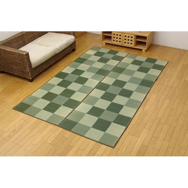 純国産 い草花ござ 『Fブロック』 グリーン 江戸間6畳(261×352cm)(裏:ウレタン) 緑