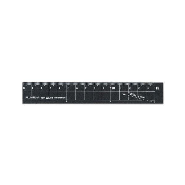 (まとめ) クツワ アルミ定規 15cm ブラックXS15BK 1個 【×50セット】 黒