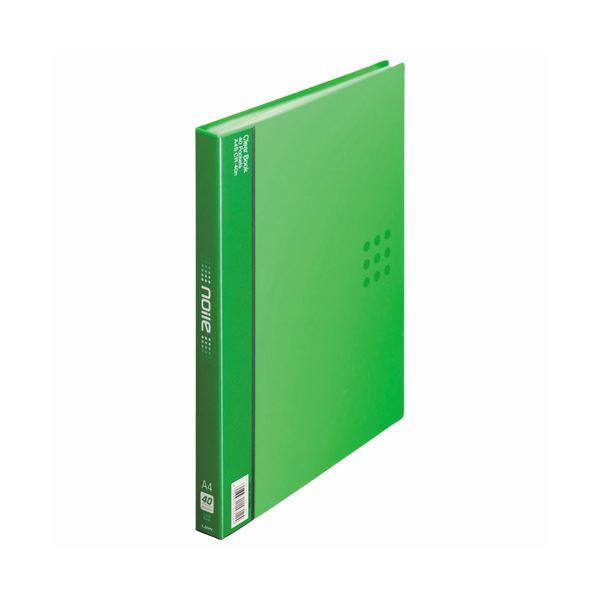 (まとめ) ライオン事務器 クリアーブック(ノイル)A4タテ 40ポケット 背幅26mm グリーン CR-40n 1冊 【×10セット】 緑