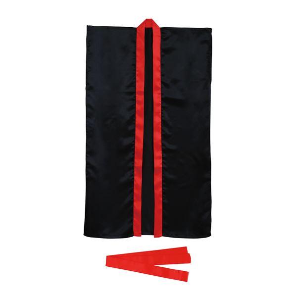 (まとめ)ソフトサテンロングハッピ L 黒/赤襟 (ハチマキ付) 【×10個セット】