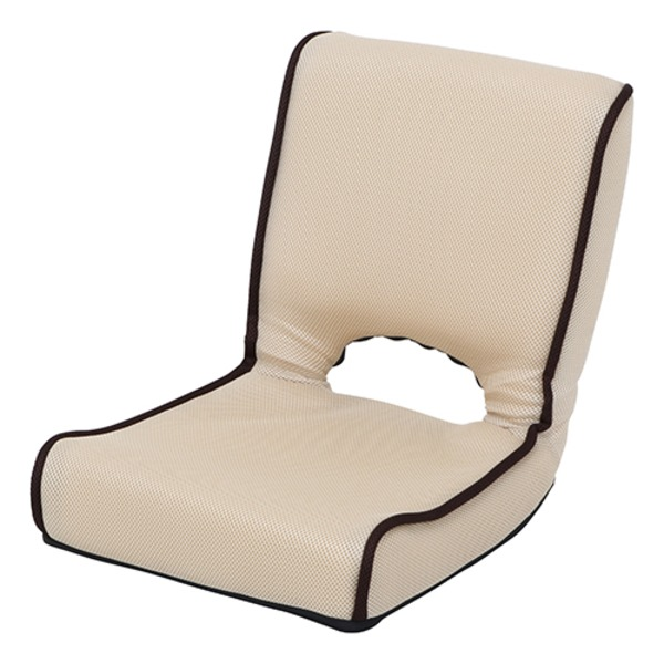 低反発 座椅子/パーソナルチェア 【アイボリー】 幅40cm 折りたたみ 前倒れギア 『ショコラ メッシュ』 【4個セット】 乳白色