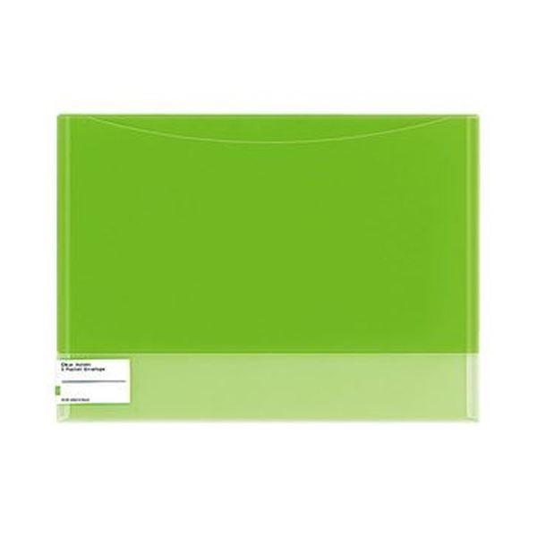 (まとめ)コクヨ クリヤーホルダー(2ポケットエンベロープ)A4 黄緑 フ-5770YG 1セット(5枚)【×10セット】