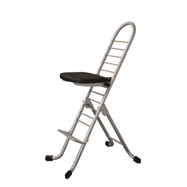 シンプル 折りたたみ椅子 (イス チェア) 【ブラック×シルバー】 SH31~84cm 金属 スチール パイプ 『プロワークチェア (イス 椅子) 』 黒
