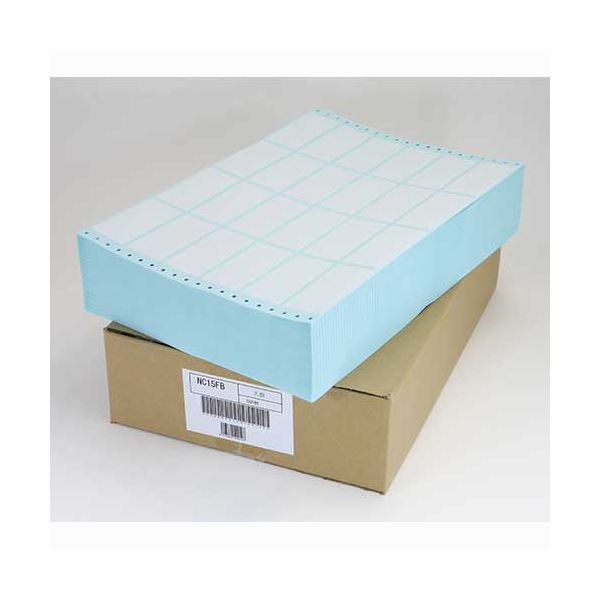 (まとめ)東洋印刷 ナナフォーム連続ラベル(剥離紙ブルー) 15×10インチ 24面 84×38mm NC15FB 1箱(500折)【×3セット】 青