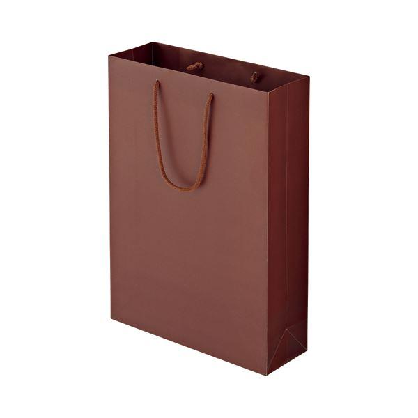(まとめ) TANOSEE マットコート手提げ袋 L ヨコ320×タテ450×マチ幅110mm ブラウン 1パック(10枚) 【×5セット】 茶