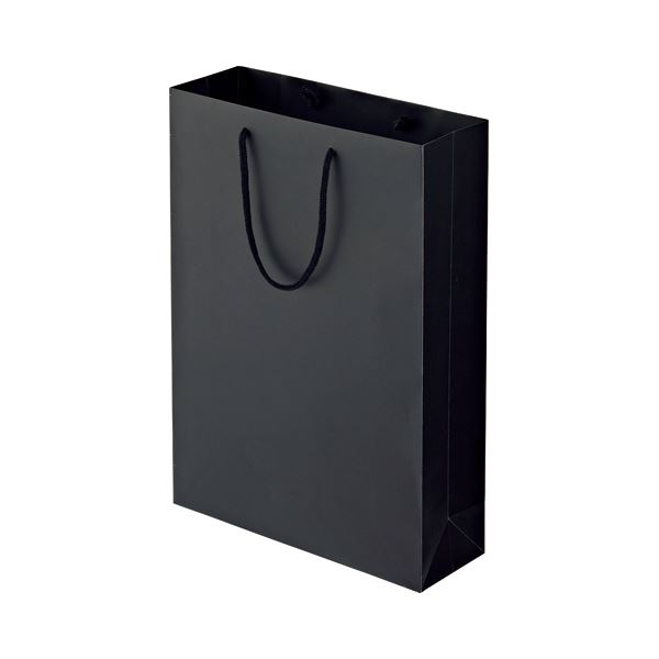 (まとめ) TANOSEE マットコート手提げ袋 L ヨコ320×タテ450×マチ幅110mm ブラック 1パック(10枚) 【×5セット】 黒