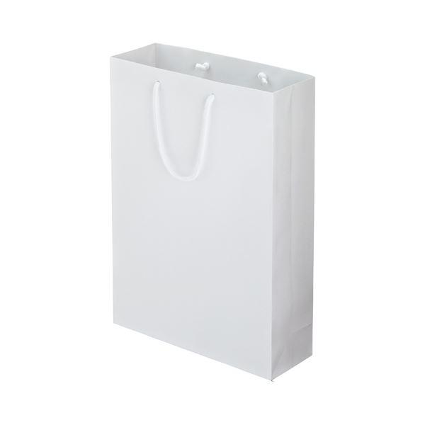 (まとめ) TANOSEE マットコート手提げ袋 L ヨコ320×タテ450×マチ幅110mm ホワイト 1パック(10枚) 【×5セット】 白