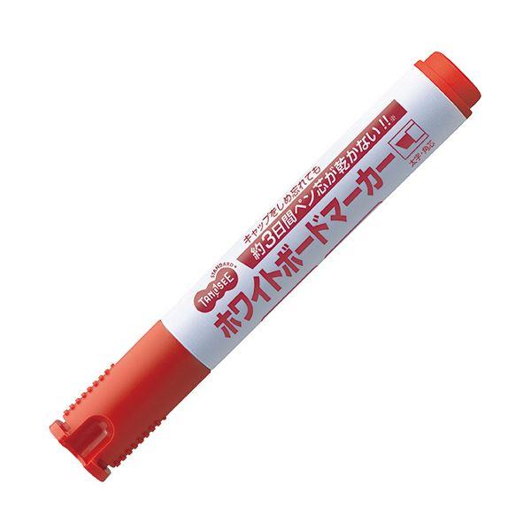 (まとめ) TANOSEE ホワイトボードマーカー ノンドライタイプ 太字・角芯 赤 1本 【×100セット】 白
