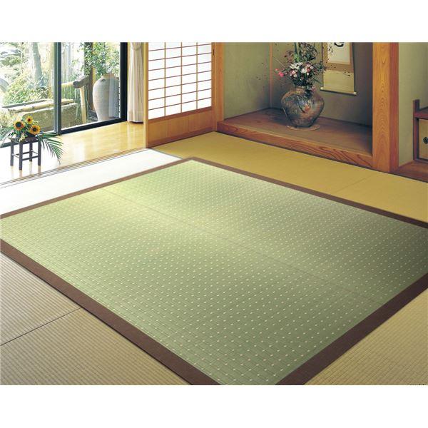 国産い草 ラグマット/絨毯 【約191×191cm ネイビー】 日本製 裏貼り仕様 防滑加工 縁:綿100% 『吉兆 きっちょう』