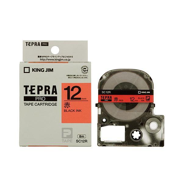 (まとめ) キングジム テプラ PRO テープカートリッジ パステル 12mm 赤/黒文字 SC12R 1個 【×10セット】