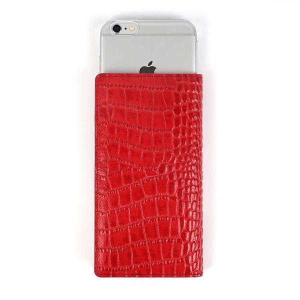 GAZE 多機種対応スライド式 手帳型ケース Vivid Croco Diary Lサイズ レッド 赤