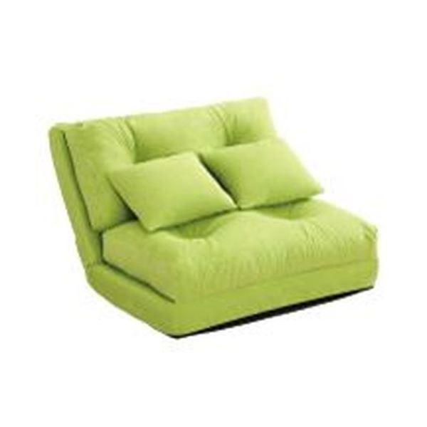 3WAY ソファーベッド 【シングル 幅90cm グリーン】 日本製 パイプフレーム ウレタン クッション2個付き 完成品 〔リビング〕 緑