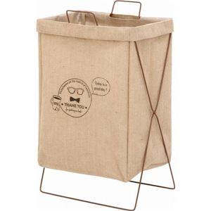 ランドリーバスケット/洗濯物ボックス 【麻】 幅37cm 横型取手付き 麻100% 〔脱衣所 洗濯用品〕 【6個セット】