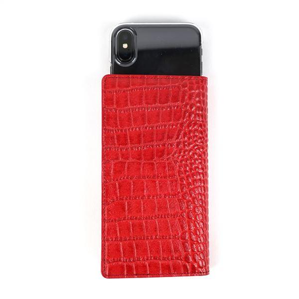 GAZE 多機種対応スライド式 手帳型ケース Vivid Croco Diary Mサイズ レッド 赤