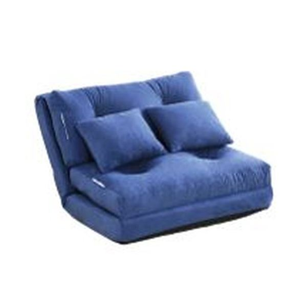 3WAY ソファーベッド 【シングル 幅90cm ブルー】 日本製 パイプフレーム ウレタン クッション2個付き 完成品 〔リビング〕 青