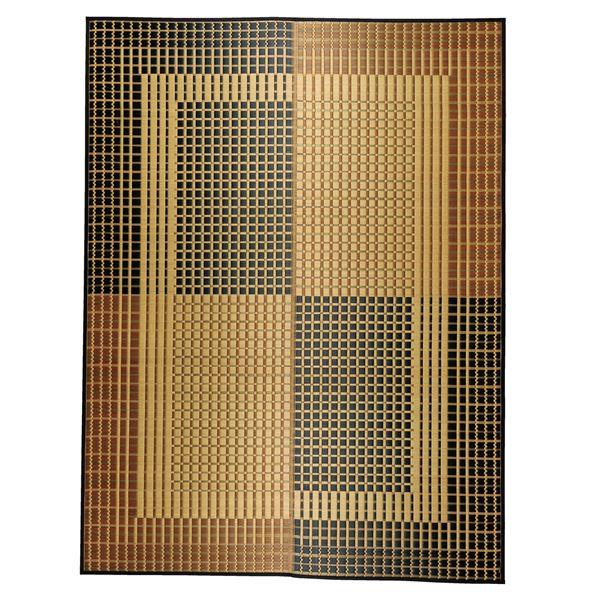 国産い草 ラグマット/絨毯 【約191×250cm ベージュ】 日本製 縁:綿100% 『右京 うきょう』 〔リビング ダイニング〕