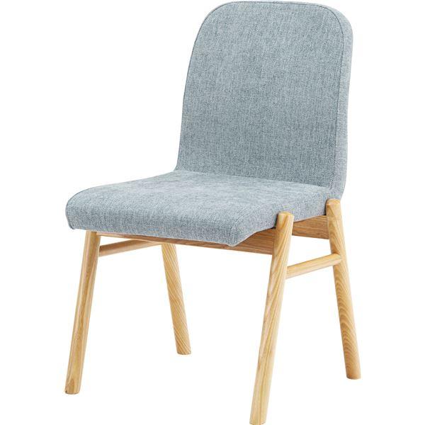 ダイニングチェア/食卓椅子 2脚セット 【ライトグレー】 幅53cm×奥行60cm×高さ85cm×座面高45cm 木製素材 〔リビング〕